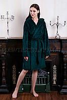 Женский махровый халат короткий MISS зеленый (бесплатная доставка+подарок)