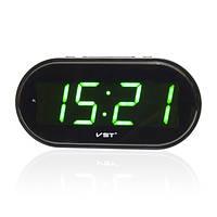 Часы электронные vst-801-2, настольные / настенные, зелёная подсветка цифр, будильник, питание 220в, 2 х ааа