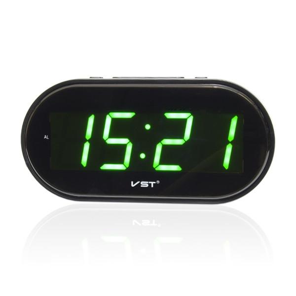 Часы электронные vst-801-2, настольные   настенные, зелёная подсветка цифр,  будильник, питание 220в, 2 х ааа 767a2fb9e30
