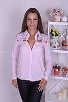 Блузка женская с бусинами розовая