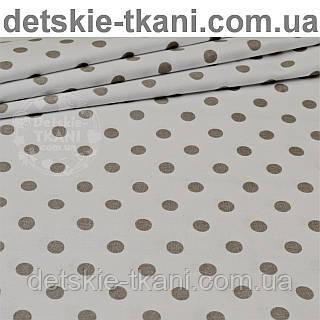 Ткань с серым горошком 1 см на белом фоне (№24а).