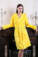 Женский махровый халат короткий MISS желтый (бесплатная доставка+подарок)