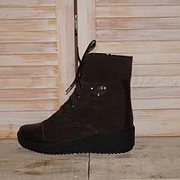 Ботинки женские из натурального замша темно коричневого цвета с вставками из натуральной кожи
