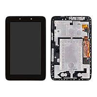 Дисплей (экран) для Lenovo A2107A IdeaTab + с сенсором (тачскрином) и рамкой черный