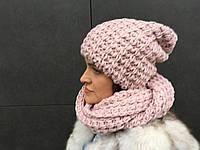 "Комплект (снуд+шапка) ""All"" пудрового цвета"