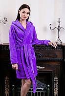 Женский махровый халат короткий MISS фиолет (бесплатная доставка+подарок)