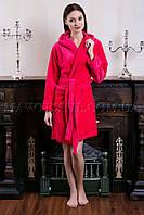 Женский махровый халат короткий MISS Красный  (бесплатная доставка+подарок)