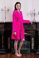 Женский махровый халат короткий MISS Малиновый  (бесплатная доставка+подарок)