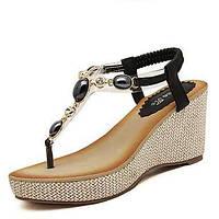 Черный / Бежевый - Женская обувь - На каждый день - Синтетика - На танкетке - На платформе / Босоножки - Сандалии 02997788