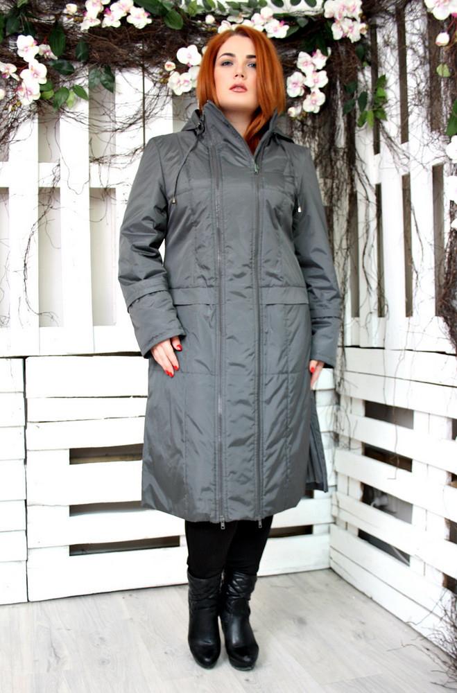 Пальто из плащевки женское большого размера Аврора 018 (3 цвета), демисезонное пальто большого размера -  Irmana.com.ua - оптовый интернет магазин одежды в Харькове
