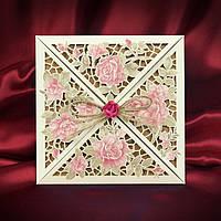 Эксклюзивные пригласительные на свадьбу с красивыми высеченными узорами и крафтовым вкладышем