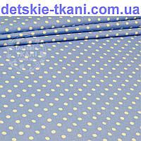 Бязь c горошком 7 мм на голубом (джинсовом) фоне  (№177)