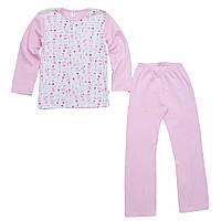 Пижама для девочки малыша ребенка розовая белая арт. 37