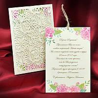 Свадебные приглашения нежно-розового цвета с красивым вкладышем