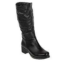 Полусапоги женские Kvitas (черные, кожаные, удобные, на каблуке)