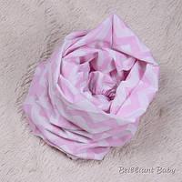 Стандартная простынь на резинке Зигзаги розовая