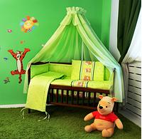 """Комплект постельного белья в кроватку из 8-ед-""""Мишки в кружочек зеленые"""".Балдахин вуаль цветная"""