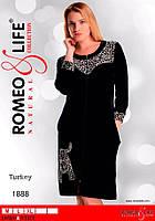 """Женский велюровый халат """"Romeo&Life"""",леопардовый принт"""