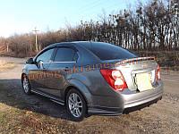 Накладка на задний бампер Atlantis для Chevrolet Aveo T300 2011-2015 седан