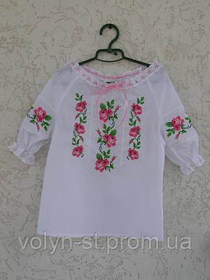 Вышиванка для девочки с коротким рукавом и шитьем