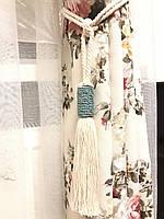 Кисти подхваты для штор цвет белый с бирюзой 54 см ручная работа .