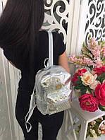 Хит! Стильный красивый женский лаковый рюкзак в заклёпках серебро серебряный, фото 1