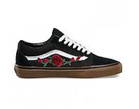 Vans Old Skool Roses Patch Black Gum