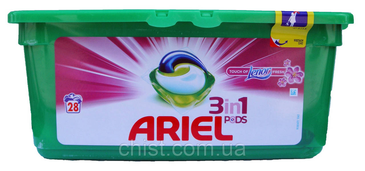 Ariel капсулы для стирки Touch of Lenor fresh 3in1 Pods (28 шт.-28 ст.) Италия