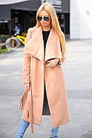 Пальто женское длинное на запах с поясом, материал - кашемир, цвет - бежевый