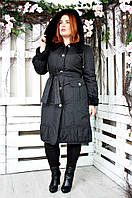 Плащ женский большого размера Вельбо (2 цвета), демисезонное пальто большого рзмера, фото 1