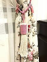 Кисти подхваты для штор цвет белый с розовым 57см ручная работа .