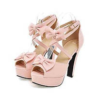 Черный / Розовый / Фиолетовый / Бежевый-Женская обувь-Для прогулок / Для праздника / На каждый день-Дерматин-На толстом каблуке-На 04921106