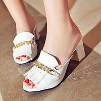 Черный / Красный / Белый-Женская обувь-Для прогулок / Для праздника / На каждый день-Дерматин-На толстом каблуке-На каблуках / С открытым 04865472