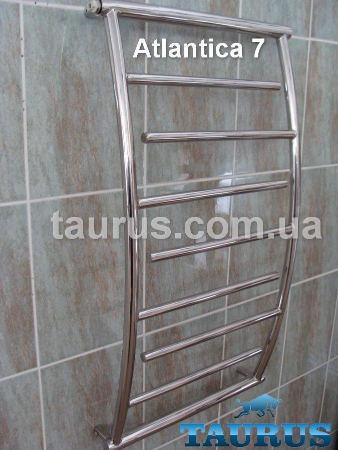 Зручний полотенцесушитель Atlantica 7/850х500 з нержавіючої сталі в ванну кімнату з вигнутими стійками