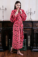 Женский махровый халат длинный Miss Leopard персик (бесплатная доставка+подарок)