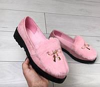 Туфли женские сверху кролик Эко Замша Розовые