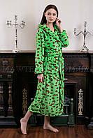 Женский махровый халат длинный Miss Leopard зеленый (бесплатная доставка+подарок)