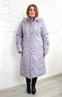 Пальто женское большого размера зимнее евро Анжелика, пальто из плащевки на зиму