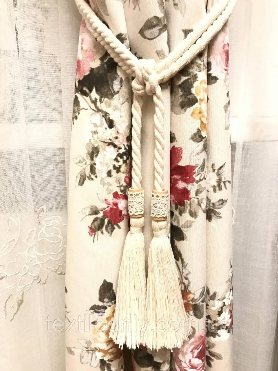 Кисти подхваты для штор цвет белый деревом и кружевом  60 см ручная работа . - Интернет-магазин тканей и фурнитуры Textileonly в Харькове