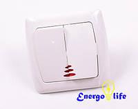 Выключатель VIKO Carmen двухклавишный с подсветкой белый,  90561050