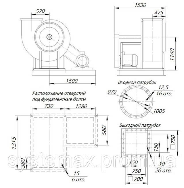 Размеры вентилятора ВЦ 14-46 №10 исполнение 5