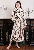 Женский махровый халат длинный Miss Leopard бежевый (бесплатная доставка+подарок)