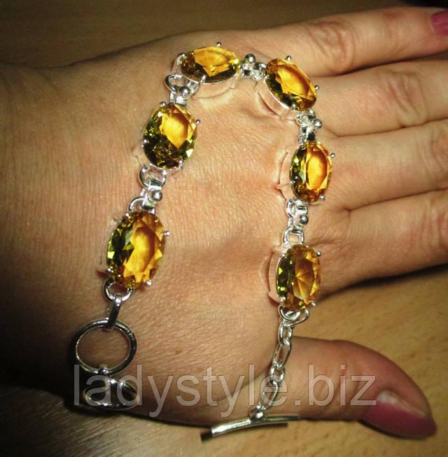 купить браслет с цитринами серебро подарок оберег талисман зодиак