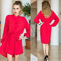 Платье-рубашка из штапеля в расцветках.