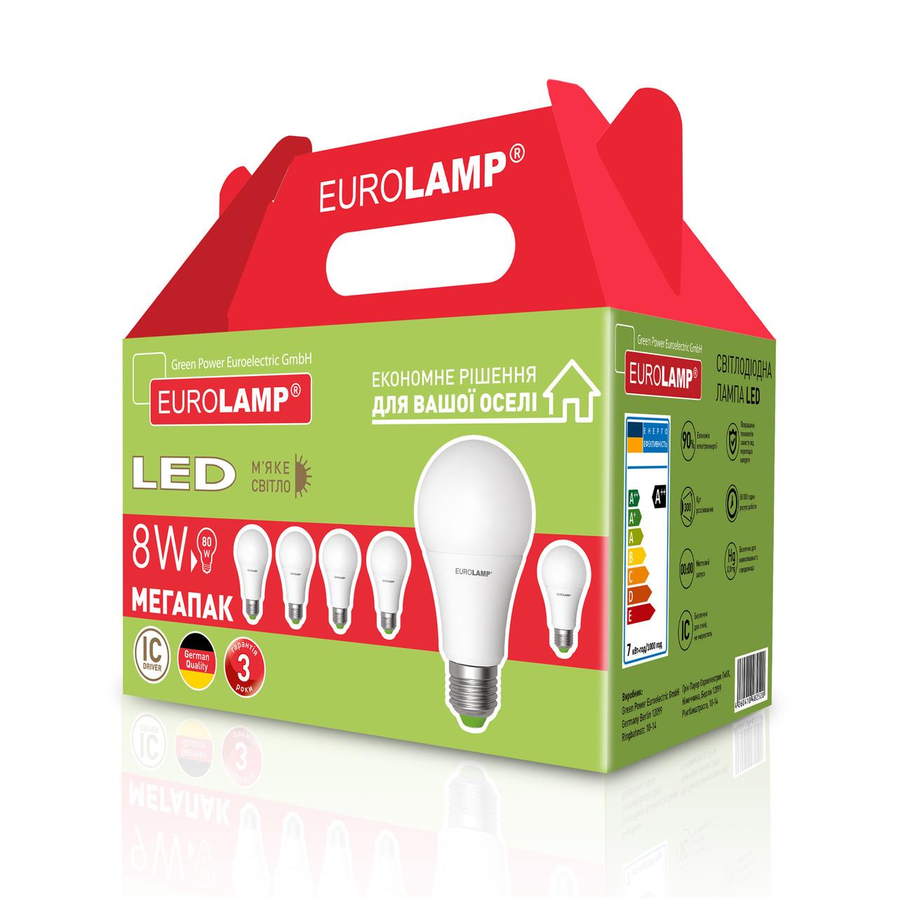 "Промо-набір EUROLAMP LED Лампа A60 8W E27 3000K акція ""6в1"""