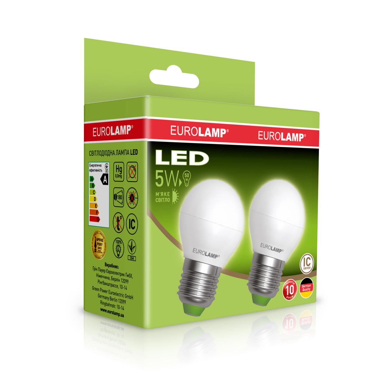 """Промо-набор EUROLAMP LED Лампа ЕКО G45 5W E27 3000K акция """"1+1"""""""