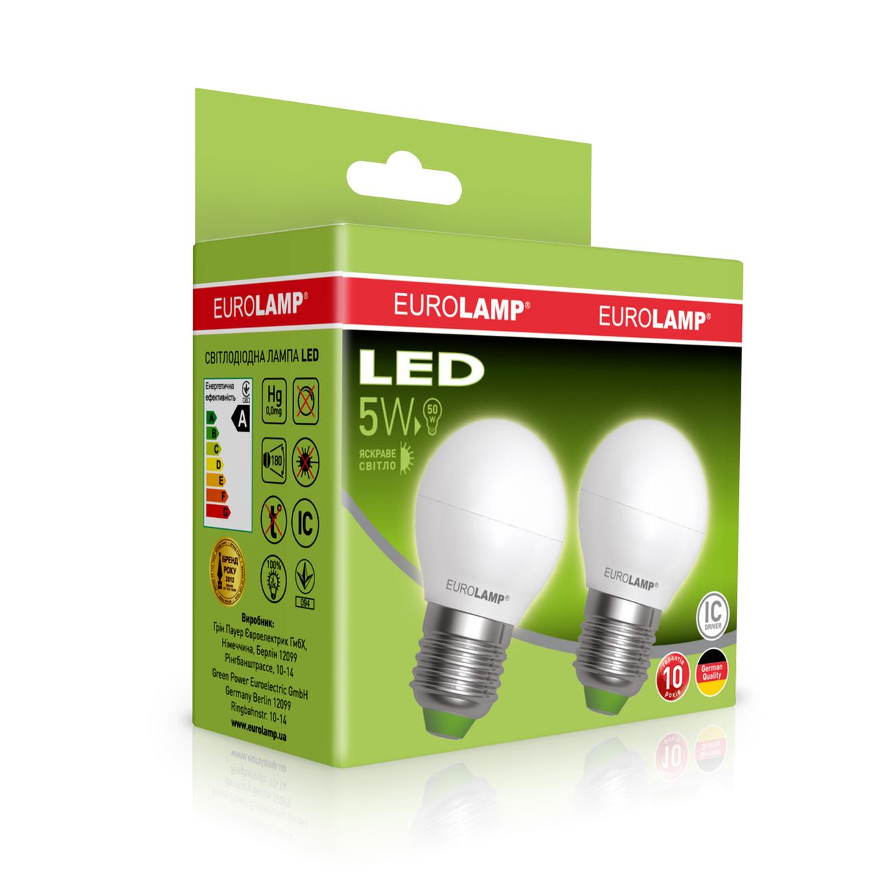 """Промо-набор EUROLAMP LED Лампа ЕКО G45 5W E27 4000K акция """"1+1"""""""