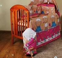 """Постельное бельё для новорожденных деток из 8 ед -""""Барашки беж."""".Балдахин вуаль цветная"""