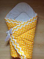 Осенний конверт одеяло для новорожденных на выписку весна/осень  90х90см Желтый Горох