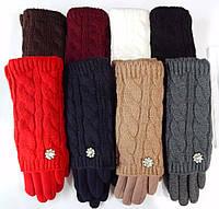 Женские перчатки вязка (митенки) 12 пар разные цвета оптом